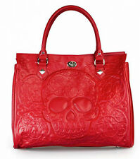 Loungefly Lattice Embossed Red Sugar Skull Handbag Day Of The Dead Hand Bag