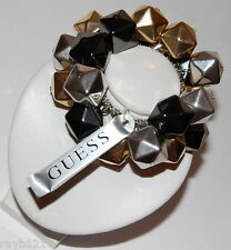 NWT Guess Black-Silver-Gold Metals Cubed Chunky Beads Stretch Bracelet