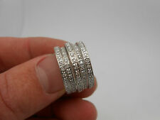 MODERN VERY WIDE DIAMOND 14K WHITE GOLD BAND COCKTAIL RING SIZE 7.5