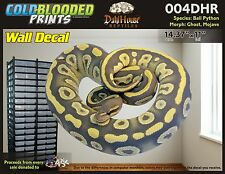 Removeable Wall Decal Snake Ball Python Cold Blooded Prints Sticker 004DHR