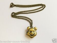 "ANTIQUE BRONZE WINNIE THE POOH LOCKET PENDANT/NECKLACE 18"" CHAIN"