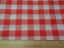 Large Red & White Gingham Plaid Checked Cotton Blend Fabric 9 Yards