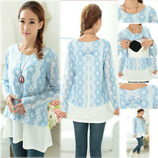 Floral Top Blouse Nursing Breastfeeding Maternity Prenancy Autumn Spring XL