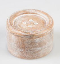 Sass & Belle Shabby Rustic Small Lime washed Wooden Button Trinket Box 6x3.5cm