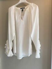 NWT Ralph Lauren SILK  long sleeve blouse top ruffle cuffs Ivory 6