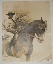 ANTIQUE WARTIME PHOTOGRAPH SOLDIER ON HORSEBACK + RARE PEAL & CO LEATHER BOOTS
