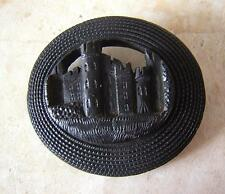 IRELAND - ANTIQUE VICTORIAN HUGE BOG OAK JET MOURNING BROOCH PIN of IRISH CASTLE