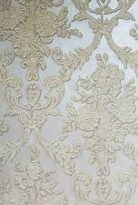 3-D Look Cream Damask on Silver Faux Formal Albert Van Luit Wallpaper VL211131