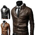 Men's fashion jackets collar Slim motorcycle leather jacket coat outwear Hot @@