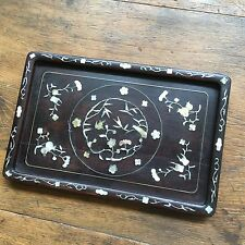 19th Cent Chinese Mother Of Pearl Inlaid Dark Rosewood 酸枝 Tray