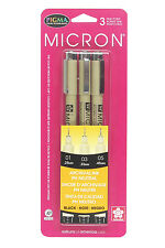 Pigma Micron Pen Set/3 Black Assort Sizes