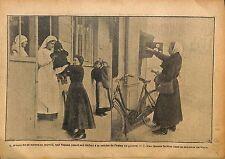 Femme Travail crèche Usine Guerre/Factrice Banlieue Paris WWI 1917 ILLUSTRATION