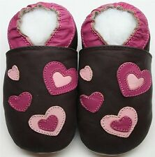 Minishoezoo soft sole leather baby toddler shoes hearts brown 3-4T