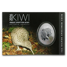 NEUSEELAND  2016 KIWI EGG SPECIMEN  1 OZ SILBER $1 COIN!UNIQUE SHAPE!!!