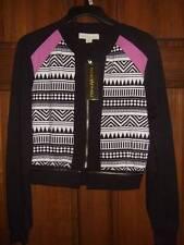 NWT ~ NICKI MINAJ black white purple geometric jacket w/ gold zipper ~ womens S