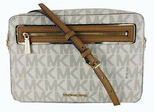 MICHAEL KORS Frame Out MK Logo Vanilla PVC LG E/W X-Body Bag MSRP $178