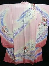 "KABUKI Actor's Pink & Purple Silk ""Rinzu Furisode"" w/Sakura F795"