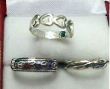 LOT OF 3 STERLING SILVER TOE RING MADE IN USA SMALL HEARTS, PEACE SIGN, PLAIN.