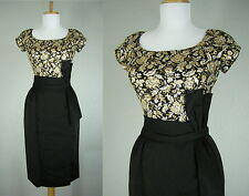 VINTAGE 1950s BLACK DRESS GOLD SILVER FLORAL METALLIC WIGGLE COCKTAIL PARTY S