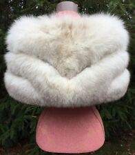 VTG 3-ROW OFF WHITE BROWN FOX FUR STOLE WRAP SHAWL CAPE COLLAR SHRUG WEDDINGS!!!