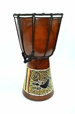 "6"" DJEMBE DRUM BONGO HAND CARVED AFRICAN ABORIGINAL DOT ART GECKO LIZARD DESIGN"