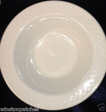 "ANFORA 7 3/8"" WHITE RIMMED SOUP BOWL W EMBOSSED BASKETWEAVE PATTERN ON RIM 2014"