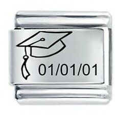 Personalised GRADUATION CAP Date Gift 9mm For Classic Size Italian Charm Bracel