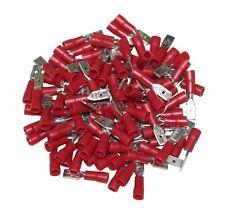 LOT DE 100 COSSES ELECTRIQUES ISOLEES A SERTIR PLATES 4.75 MM MALES ROUGE -C1265