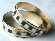 PRETTY BRASS & MOTHER OF PEARL & BLACK RESIN BRACELET/BANGLE only £3.95 EACH NWT