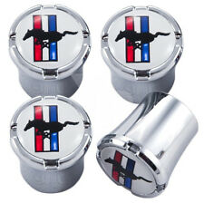 Ford Mustang Tri-Bar Tire Valve Stem Caps White and Silver Set of 4 MADE IN USA