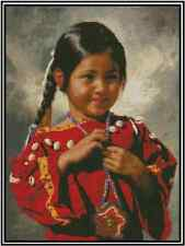 Cross Stitch NATIVE AMERICAN YOUNG GIRL - Complete Kit  #21-140