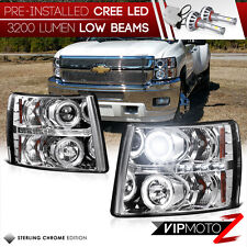 [CREE LED LOW BEAM] 2007-2014 Chevy Silverado 1500 2500HD 3500HD Clear Headlight