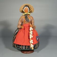 Vintage French Terracotta Dressed Santon Provence, Woman, Garlic, Signed Peirano