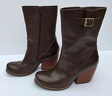 Kork Ease Turner Buckle Mid-Calf Leather Boots - Size 7M US - Excellent