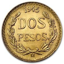 1919-1945 AU+ .900 Gold Mexican Dos Pesos - RANDOM YEARS - ROUND BULLION COIN