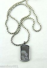 David Yurman Small Botswana Agate Sterling Silver Dog Tag With 20 inch Chain New
