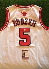 CARLOS BOOZER SIGNED White CHICAGO BULLS NBA BASKETBALL Jersey JSA/COA