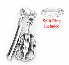 "STERLING SILVER ""VIOLIN WITH BOW"" CHARM W/SPLIT RING"