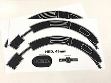 HED 9/disc 70-90mm Wheel decal/sticker set for 1 wheel GLOSS BLACK/W OUTLINE
