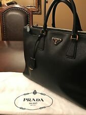"Prada Black Saffiano Leather ""Lux Large Double Zip"" Tote Bag"