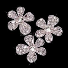 10x Crystal Diamante Flower Buttons Flatback Embellishment Craft Decor 26mm