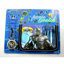 NEW Batman Dark Knight Children's Wrist Watch & Purse Wallet Set For Kids Boys