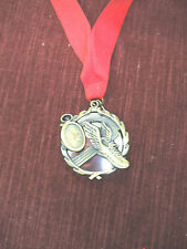 "gold medal winged shoe 1 3/4"" diameter red neck drape silver insert"