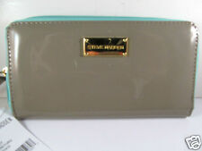 Steve Madden Taupe Turquoise Patent Leather Zip Around Wallet New
