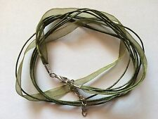 Olive Green Organza Ribbon & Waxed Cotton Necklace Cords x 5