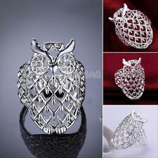 Women Owl 925 Sterling Silver Filled Hollow Big Ring Finger Jewelry Ladies Gift