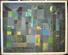 Roedyat 1961 Cubist Abstract Bali Painting Important Balinese Modern Artist
