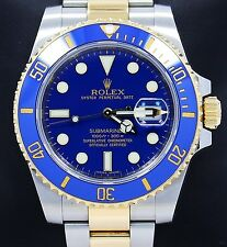 Rolex Submariner 116613 Two Tone 18K Yellow Gold & Steel Blue Ceramic *MINT*
