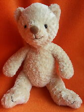 "Mothercare beige bear soft toy baby comforter 10"" bead eyes white feet"