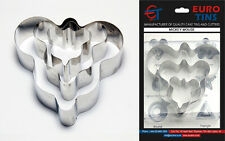 "Mickey Mouse Shape Steel Cookie Cake Cutter 1"" deep set of 3 - By Euro Tins"